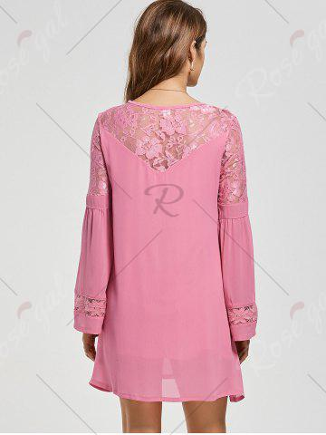 Fancy Lace Panel Shift Dress with Sleeves - XL PINK Mobile