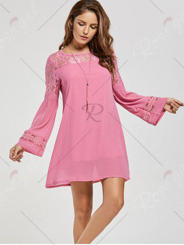Shops Lace Panel Shift Dress with Sleeves - XL PINK Mobile