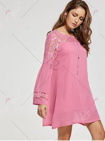 Outfit Lace Panel Shift Dress with Sleeves - XL PINK Mobile