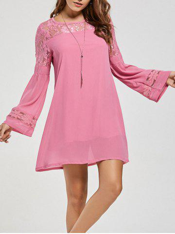 Fashion Lace Panel Shift Dress with Sleeves - XL PINK Mobile