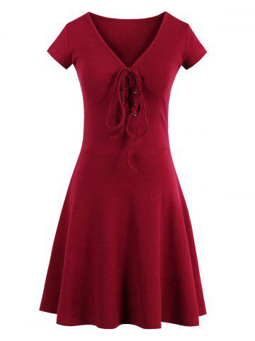Affordable Criss Cross Lace Up Knit Skater Dress - ONE SIZE RED Mobile