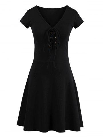 Trendy Criss Cross Lace Up Knit Skater Dress - ONE SIZE BLACK Mobile