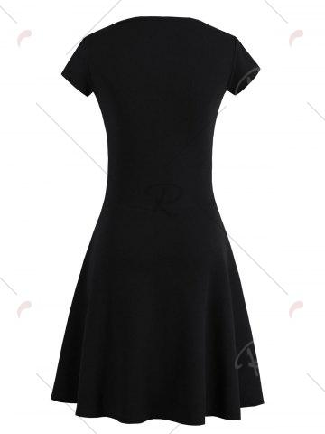 Buy Criss Cross Lace Up Knit Skater Dress - ONE SIZE BLACK Mobile