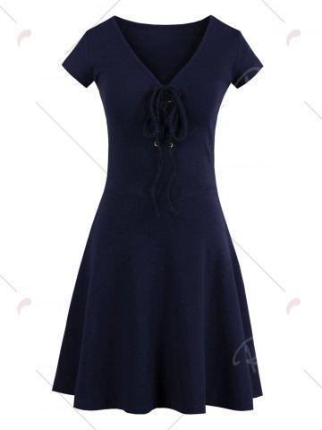 Affordable Criss Cross Lace Up Knit Skater Dress - ONE SIZE PURPLISH BLUE Mobile