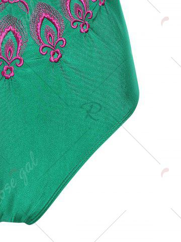 Fancy Plus Size Embroidered Cross Back Swimsuit - 4XL GREEN Mobile
