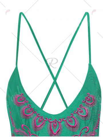 Affordable Plus Size Embroidered Cross Back Swimsuit - 4XL GREEN Mobile