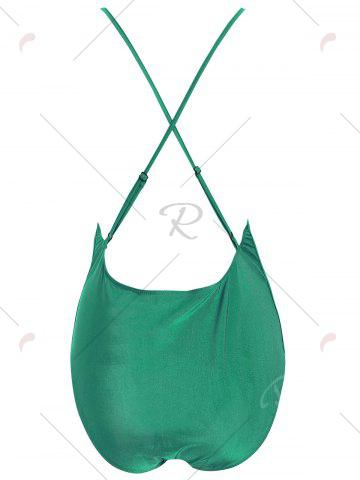 Latest Plus Size Embroidered Cross Back Swimsuit - 4XL GREEN Mobile