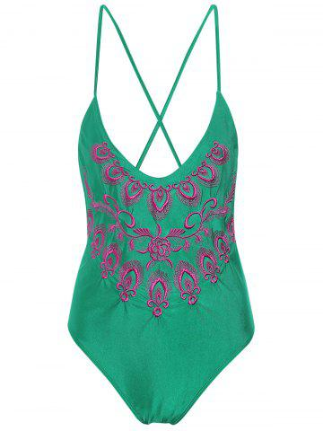 Chic Plus Size Embroidered Cross Back Swimsuit - 4XL GREEN Mobile