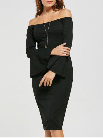 Affordable Bodycon Off The Shoulder Dress - S BLACK Mobile