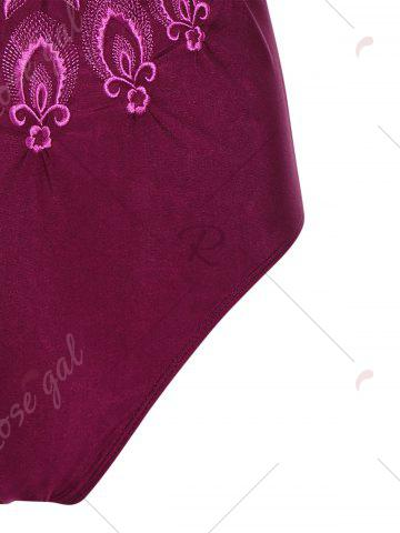 Chic Plus Size Embroidered Cross Back Swimsuit - 4XL DEEP RED Mobile