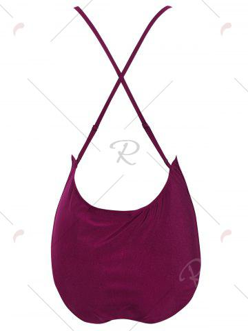 Shops Plus Size Embroidered Cross Back Swimsuit - 4XL DEEP RED Mobile