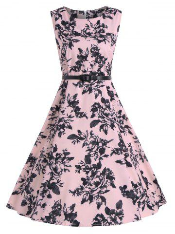 Buy Print A Line Vintage Flare Cocktail Dress - S PINK Mobile