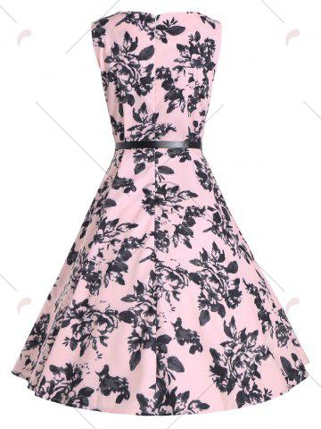 Unique Print A Line Vintage Flare Cocktail Dress - S PINK Mobile