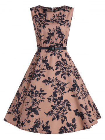 Print A Line Vintage Flare Cocktail Dress - Deep Pink - S