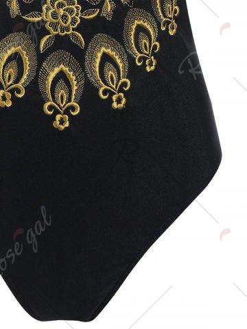 Outfits Plus Size Embroidered Cross Back Swimsuit - 4XL YELLOW AND BLACK Mobile