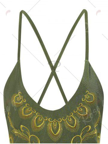 Latest Plus Size Embroidered Cross Back Swimsuit - 4XL HAMPTON GREEN Mobile