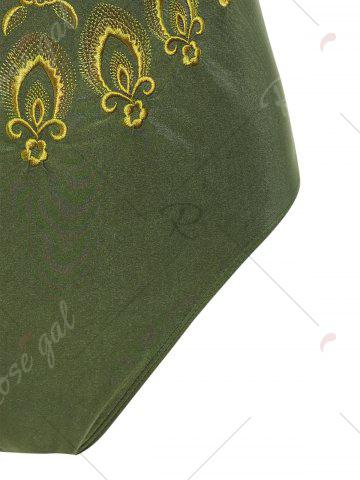 Affordable Plus Size Embroidered Cross Back Swimsuit - 4XL HAMPTON GREEN Mobile