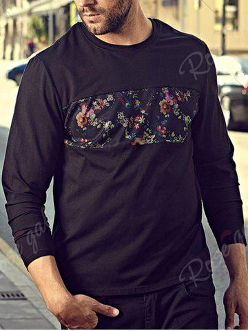 Trendy Floral Mesh Insert Plus Size Tee - 3XL BLACK Mobile