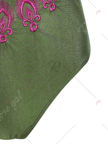 Online Plus Size Embroidered Cross Back Swimsuit - 4XL PEARL ARMY GREEN Mobile