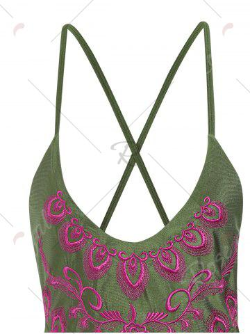 Outfit Plus Size Embroidered Cross Back Swimsuit - 4XL PEARL ARMY GREEN Mobile