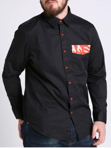 Latest Elbow Patch Plus Size Chest Pocket Shirt - 6XL BLACK Mobile
