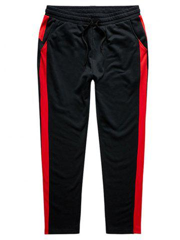 Affordable Color Block Drawstring Plus Size Sweatpants - 3XL RED Mobile
