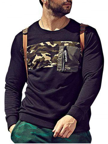 Plus Size Camo Insert Pocket Sweatshirt - Black - 6xl