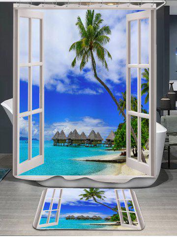 Window Scenery Print Shower Curtain and Rug - Blue - W71 Inch * L79 Inch
