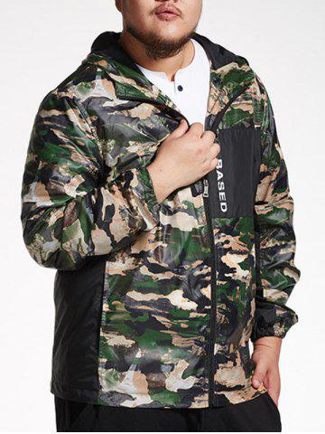 Discount Plus Size Hooded Camo Windbreaker - 3XL CAMOUFLAGE Mobile