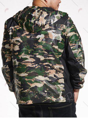Sale Plus Size Hooded Camo Track Jacket - 6XL CAMOUFLAGE Mobile