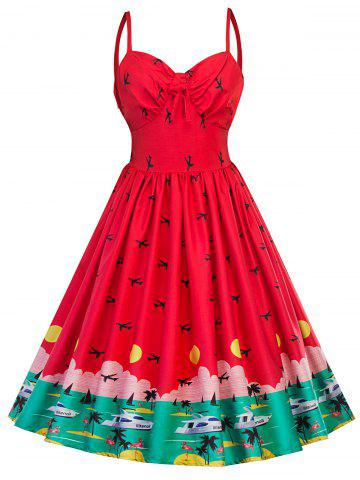 Vintage Watermelon Pin Up Swing Dress - Red - 2xl