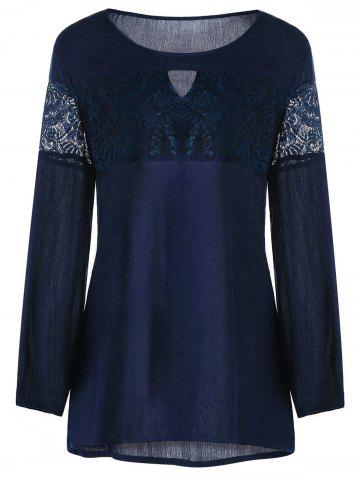 Buy Plus Size Lace Trim Keyhole Neck Blouse - Purplish Blue Xl