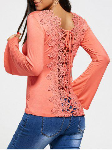 Hollow Out Lace Back Long Sleeve T-shirt - Peach Pink - M
