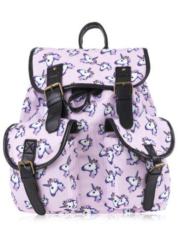 Fancy Emoji Unicorn Print Backpack