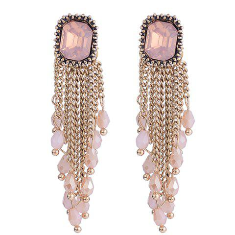 Unique Link Chain Fringe Square Faux Gem Drop Earrings
