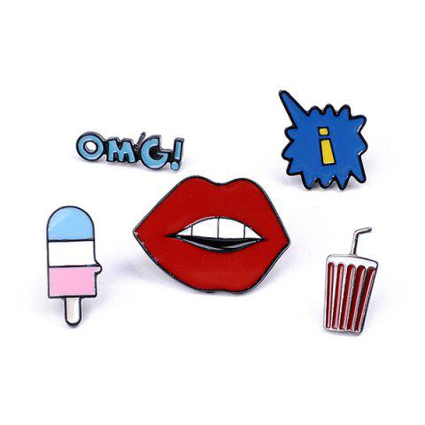 New Ice Cream Drink OMG Lips Brooch Set COLORMIX
