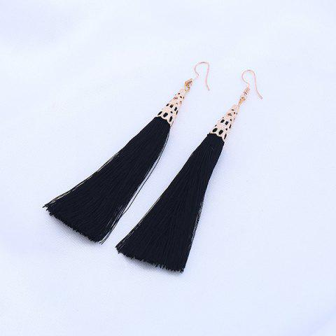 Vintage Tassel Drop Hook Earrings - Black - S