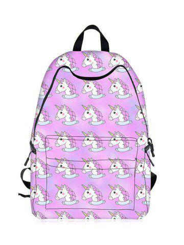 Chic Padded Strap Unicorn Print Backpack - LIGHT PURPLE  Mobile