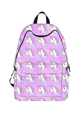 Outfits Padded Strap Unicorn Print Backpack - LIGHT PURPLE  Mobile