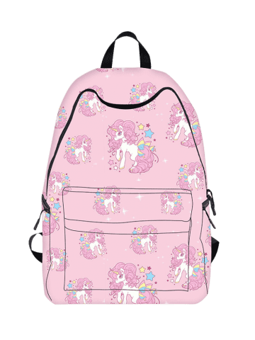 Latest Padded Strap Unicorn Print Backpack - PINK  Mobile