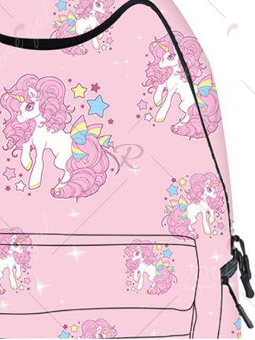 Chic Padded Strap Unicorn Print Backpack - PINK  Mobile