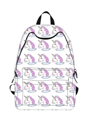 Chic Padded Strap Unicorn Print Backpack - WHITE  Mobile