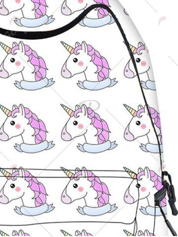 Outfit Padded Strap Unicorn Print Backpack - WHITE  Mobile