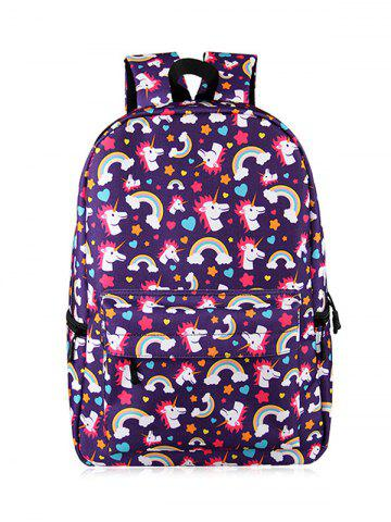 Trendy Padded Strap Unicorn Print Backpack PURPLE