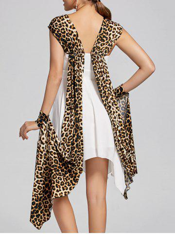 Discount Cuffed Leopard Cape Chiffon Handkerchief Dress - M WHITE Mobile