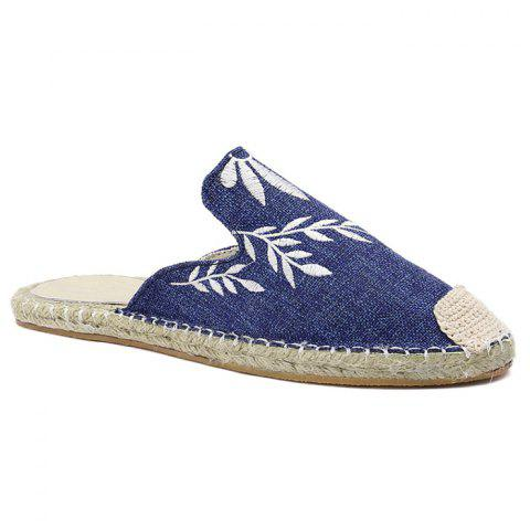 Discount Braided Toe Cap Embroidery Espadrille Mules - 38 BLUE Mobile