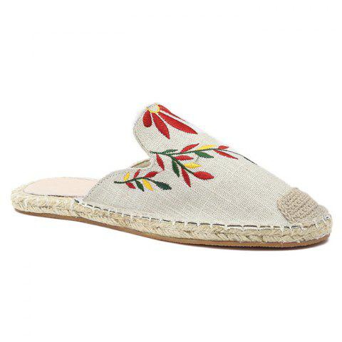 Cheap Braided Toe Cap Embroidery Espadrille Mules BEIGE 37