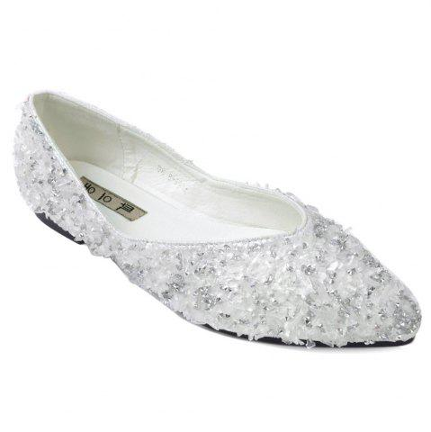 Rhinestones Pointed Toe Flat Shoes - Silver - 40