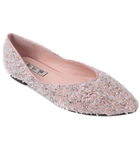 Rhinestones Pointed Toe Flat Shoes - Pink - 38
