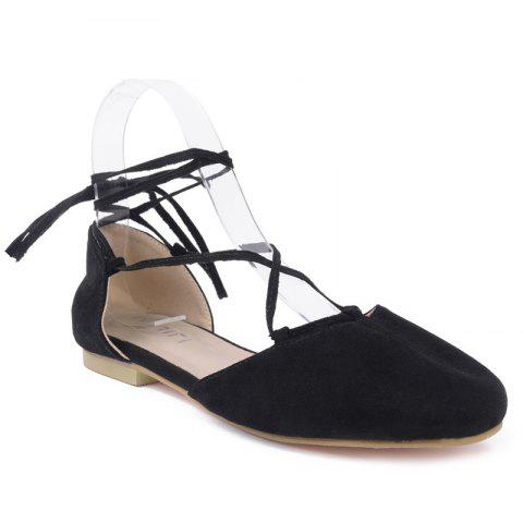 New Tie Up Round Toe Flat Shoes BLACK 37